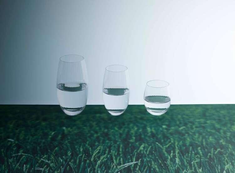 精米したお米の形をイメージした、美しいシェイプが印象的な日本酒グラス