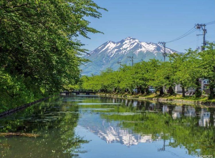 ©9DROPS 弘前公園のお濠越しの岩木山