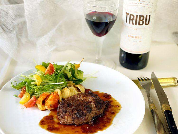 日本三大和牛100%ハンバーグと肉料理に合うアルゼンチンワイン「トリブ マルベック」で家呑み♪