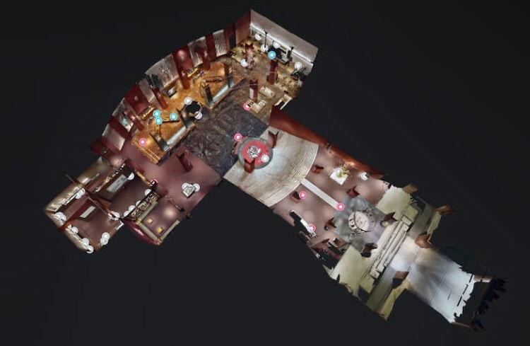 3Dヱビスビール記念館のコース全体の画像(右下が入口です)