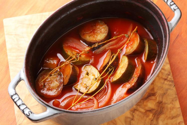 たっぷり野菜のヘルシーおつまみ 「トマトジュースでかんたんラタトゥイユ」