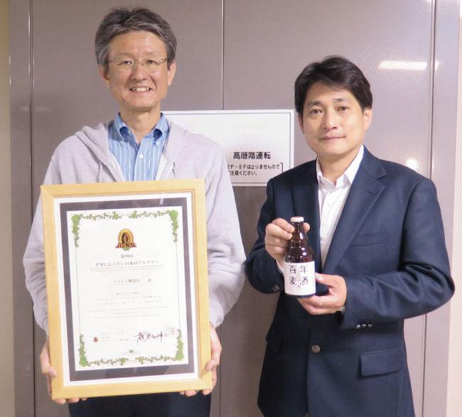 快諾してくれたベアレン醸造所 木村社長(右)と嶌田専務(左)