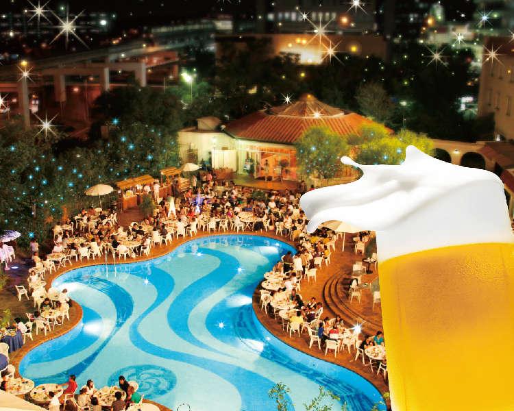 プレミアムフライデーはホテルのプールサイドでプレミアムビールを飲み比べ